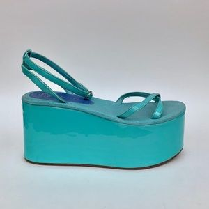 Retro turquoise Jeffrey Campbell Platforms size 9